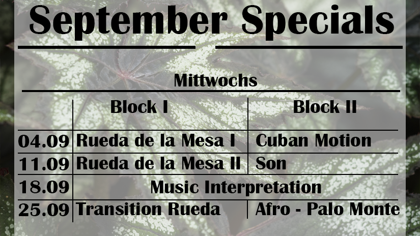 Mittwochs-Specials: September